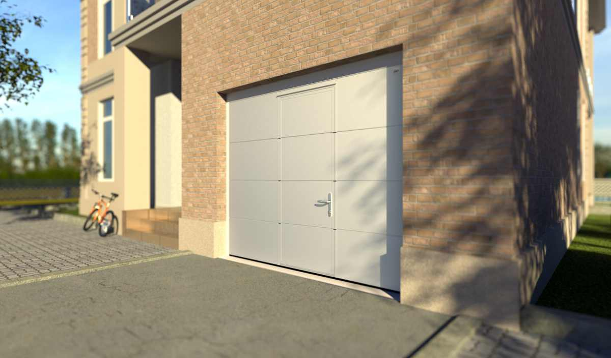 Porte de garage sectionnelle venus venus image geos gaia javey portes sectionnelles - Porte sectionnelle avec portillon tarif ...
