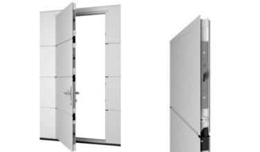 La Porte De Garage Sectionnelle Avec Portillon Intégré GEOS By JAVEY Offre  Une Sécurité Renforcée.